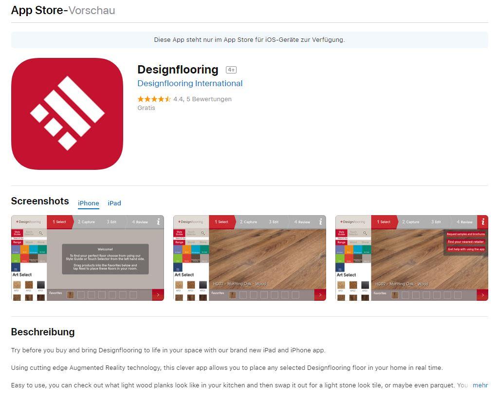 Designflooring Augmented Reality App - Bodenbelag-designs in den eigenen vier Wänden projezieren